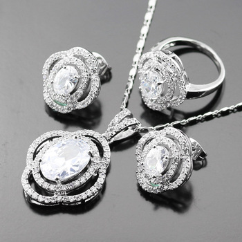 Jewelry Set For Women White zircon Silver Color Jewelry Wedding Zircon Necklace/Earrings/Rings/Pendant Free Box js12-007