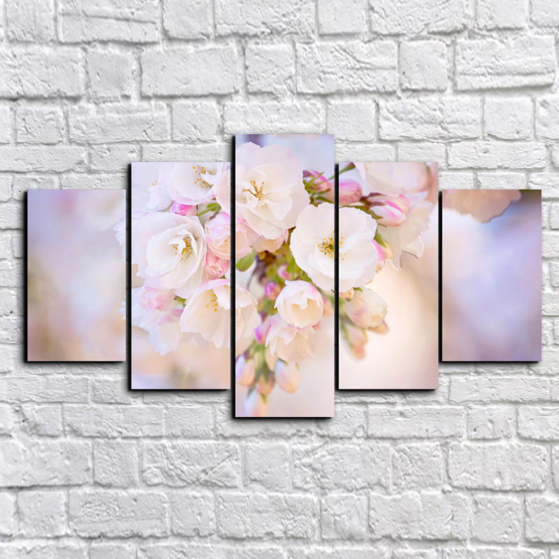 New Hot 5 Panel HD Modern flowers Painting cherry blossoms Home Decoration Canvas Painting Wall Art Deco framed F/993