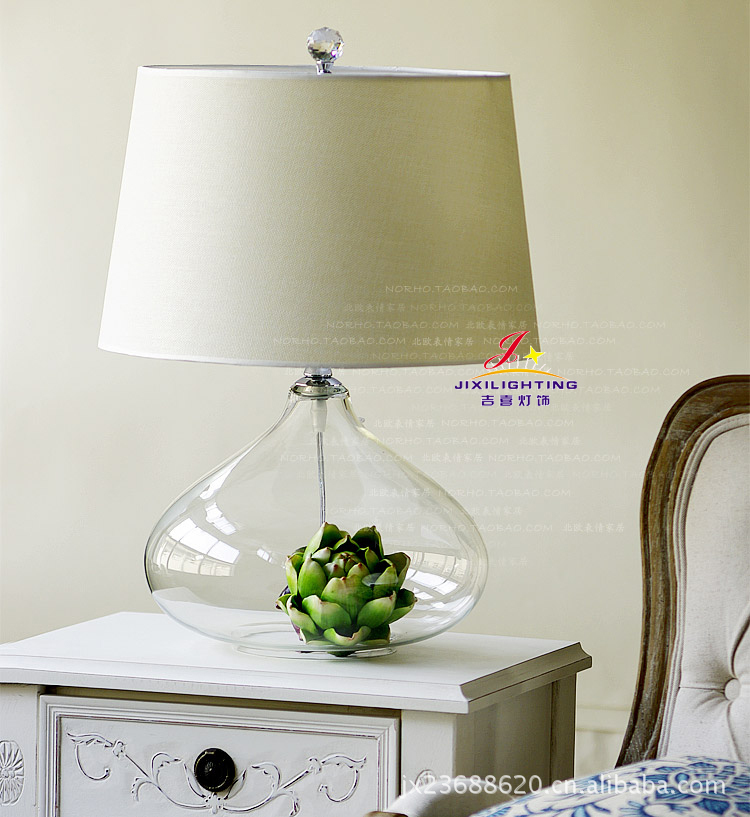TUDA Crystal Table Lamp Classical Hotel Club Lobby Transparent Glass LED Table Lamp Bedroom Lamp Living Room Bedside Table Lamp