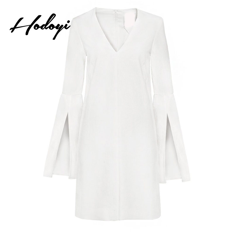 Hodoyi White Sweet Summer Dress Women Clothing Casual Slim Flare Sleeve Mini Dress V Neck Pencil Dress Ladies Sexy Vestido